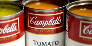 Cans of Campbell Soup Co. Campbell's chicken noodle and tomato soup are arranged for a photograph in Washington, D.C., U.S., on Monday, Nov. 19, 2012. Campbell Soup Co. is scheduled to release earnings data on Nov. 20. Photographer: Andrew Harrer/Bloomberg via Getty Images