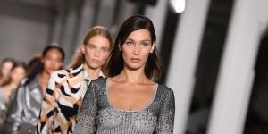 MILAN, ITALY - SEPTEMBER 22: Bella Hadid walks the runway at the Roberto Cavalli show during Milan Fashion Week Spring/Summer 2019 on September 22, 2018 in Milan, Italy. (Photo by Daniele Venturelli/WireImage)